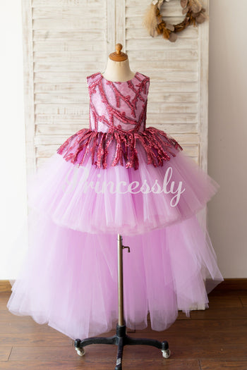 Fuchsia Sequin Tulle V Back Hi Low Wedding Flower Girl Dress