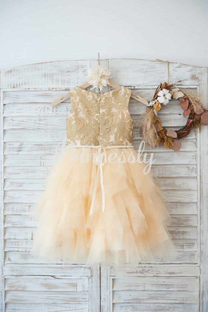 Gold Lace Champagne Ruffle Tulle Wedding Flower Girl Dress