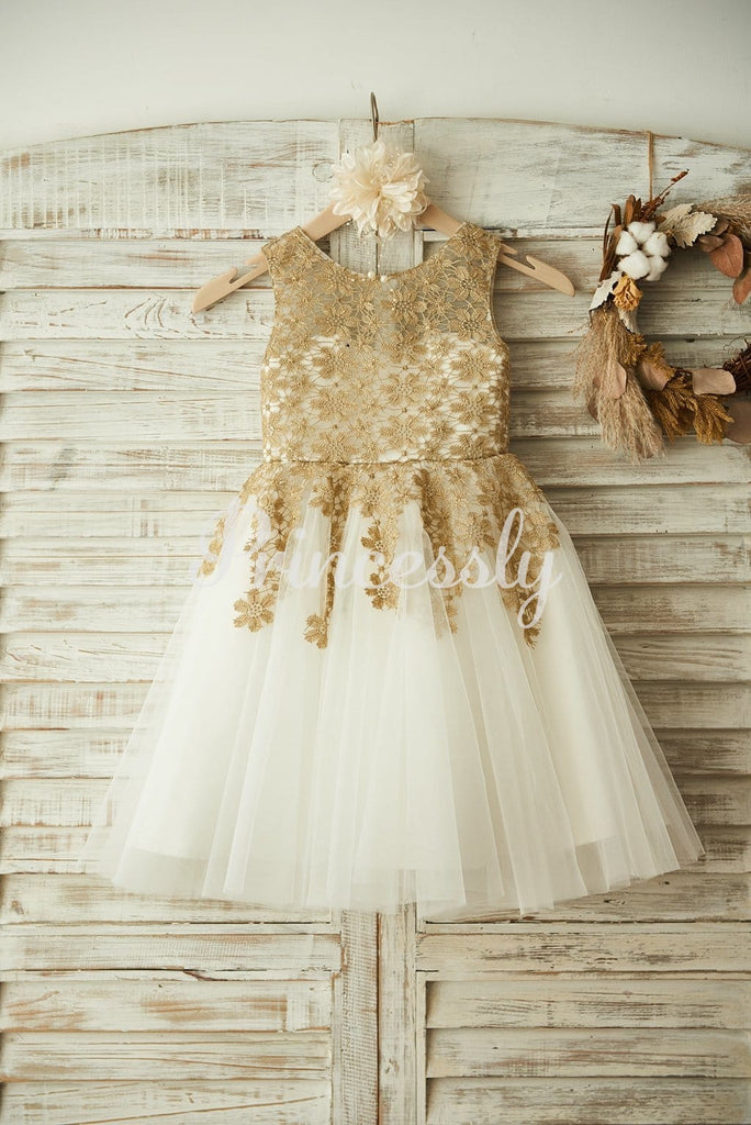 Gold Lace Ivory Tulle Wedding Flower Girl Dress