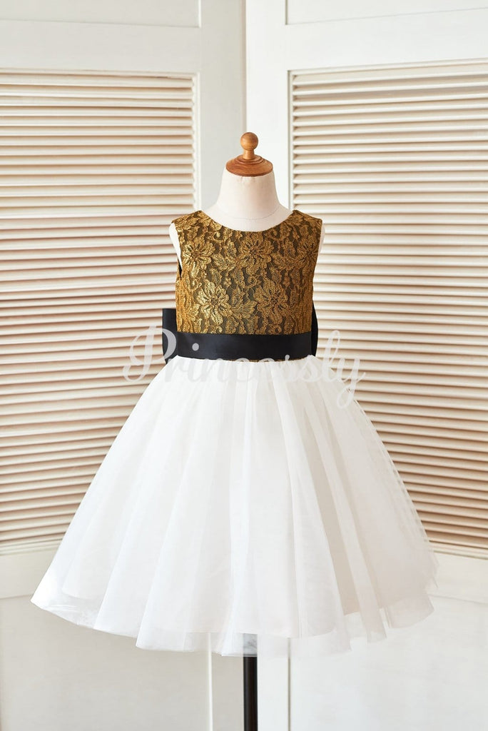 Gold Lace Ivory Tulle Wedding Flower Girl Dress with Black
