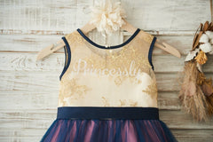 Gold Lace Navy Blue Tulle Wedding Flower Girl Dress with Bow