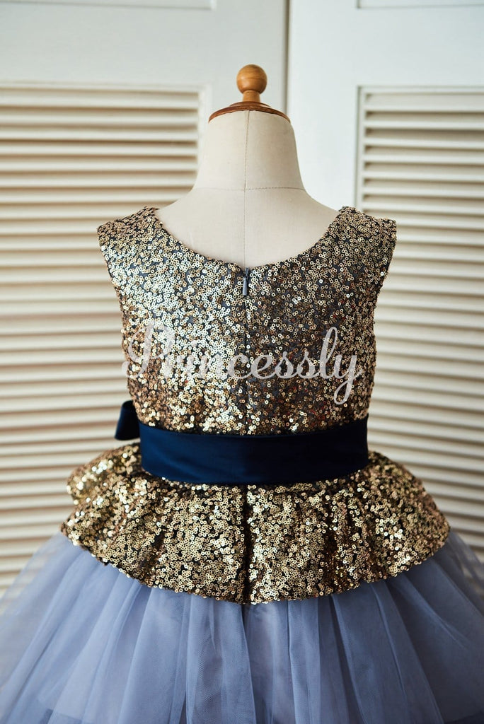 Gold Sequin Blue Cupcake Tulle Wedding Flower Girl Dress