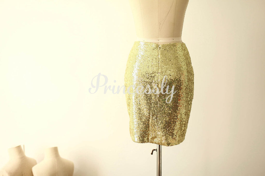 Gold Sequin Fitted Skirt / Short Women Skirt