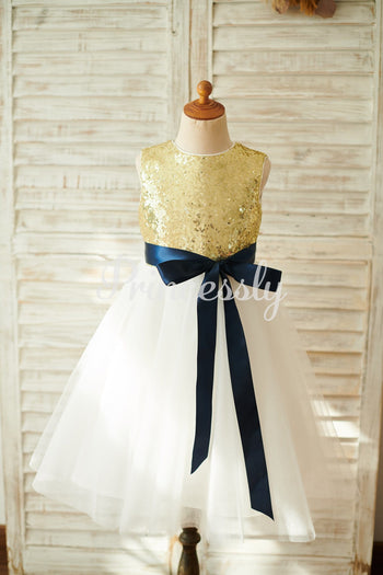 Gold Sequin Ivory Tulle Keyhole Back Wedding Flower Girl