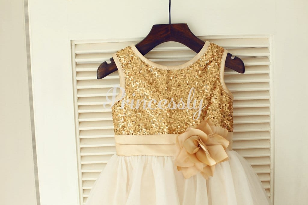 Gold Sequin Ivory Tulle Wedding Flower Girl Dress with