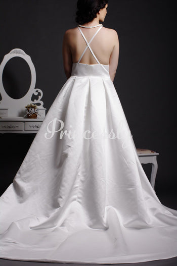 Graceful A-line V-neck Criss-cross Back Pleated Floor Length