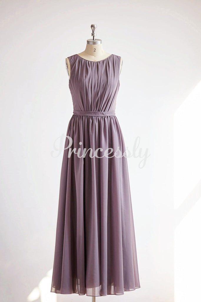 V Back Gray Chiffon Long Wedding Bridesmaid Dress