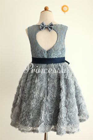Gray Lace Rosette Keyhole Back Flower Girl Dress
