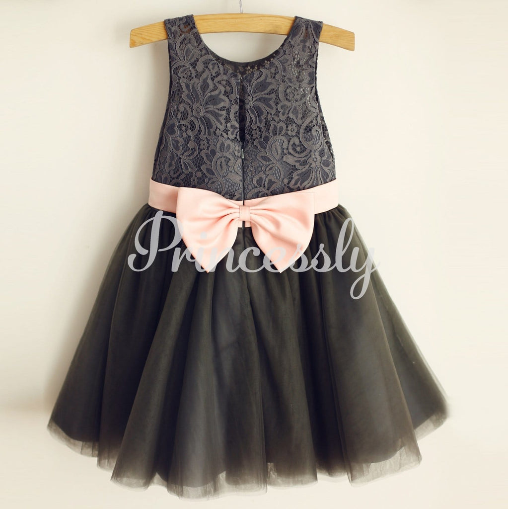 Gray Lace Tulle Wedding Flower Girl Dress with Pink Belt