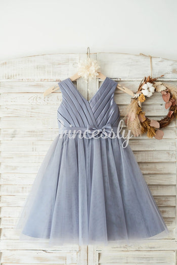 Gray Satin Tulle V Neckline Wedding Flower Girl Dress with