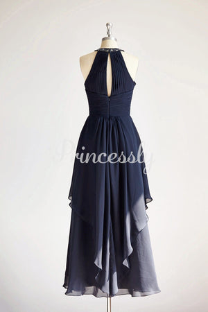 Halter Navy Blue Beaded Chiffon Long Wedding Bridesmaid