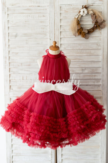 Halter Neck Burgundy Tulle Ruffles Wedding Flower Girl Dress