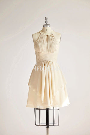Halter Neck Champagne Beaded Chiffon Short Wedding