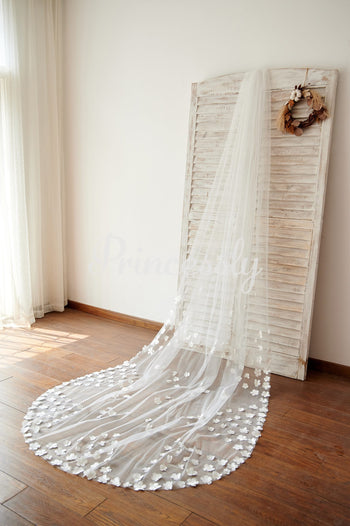 Handmade Flowers 3M Long Cathedral Wedding Bridal Veil