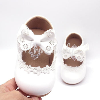 Ivory / Black / Pink Bowtie Cute Leather Flat Baby Girl