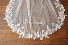 Ivory Champagne Lace Long Cathedral Wedding Bridal Veil