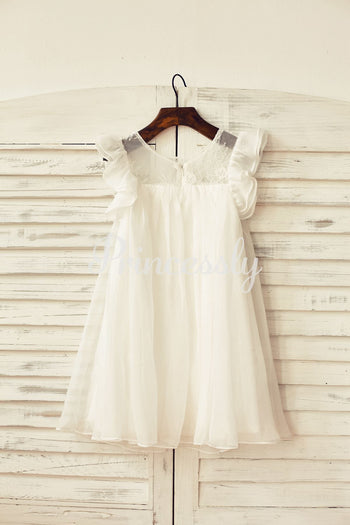 Ivory Chiffon Ruffle Cap Sleeves Flower Girl Dress