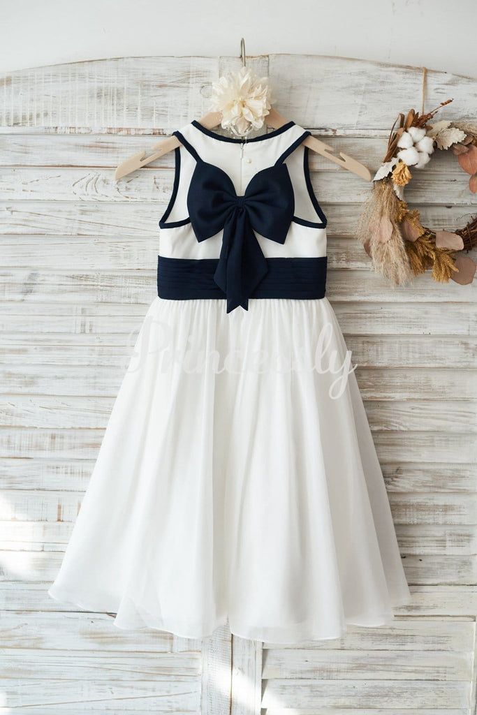 Ivory Chiffon Wedding Flower Girl Dress Junior Bridesmaid