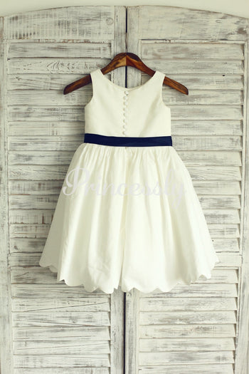 Ivory Cotton Flower Girl Dress with Navy Blue Sash