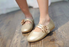 Ivory / Gold / Pink Wedding Flower Girl Shoes Ballet Flat