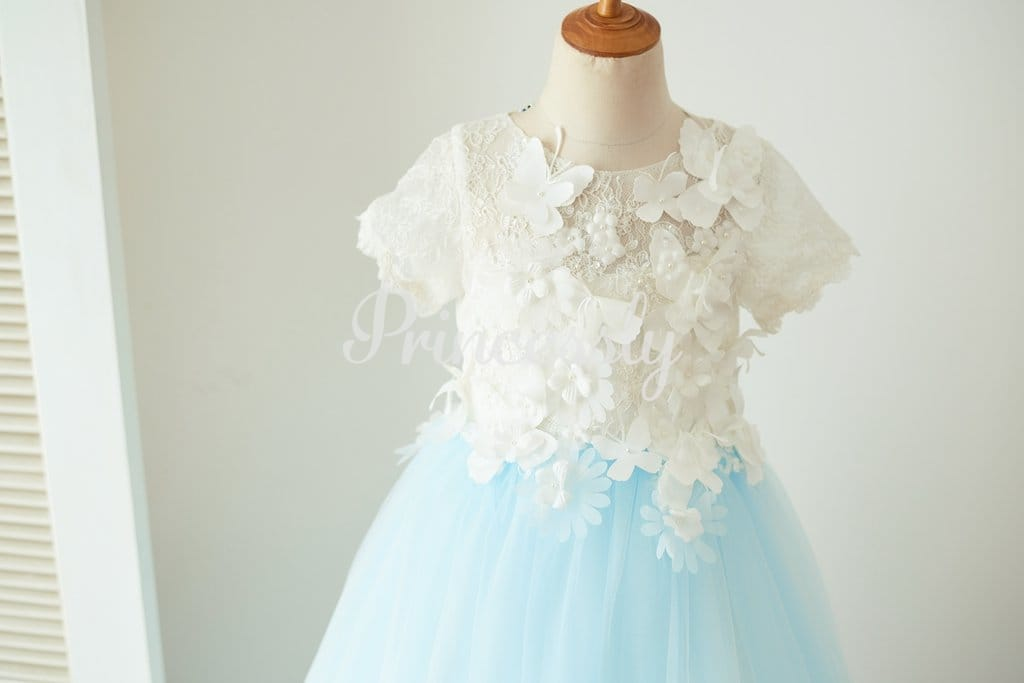 Ivory Lace Blue Tulle Short Sleeves Wedding Flower Girl