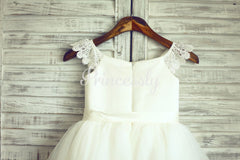 Ivory Lace Cap Sleeves Tulle Flower Girl Dress with Ivory