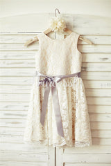 Ivory Lace Champagne lining Flower Girl Dress with silver