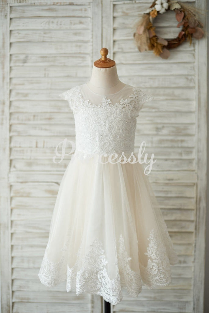 Ivory Lace Champagne tulle Cap Sleeves Wedding Flower Girl