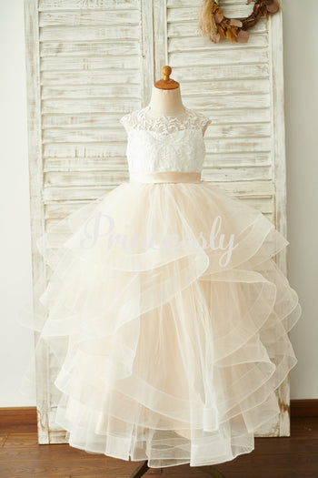 Ivory Lace Champagne Tulle Floor Length Wedding Flower Girl