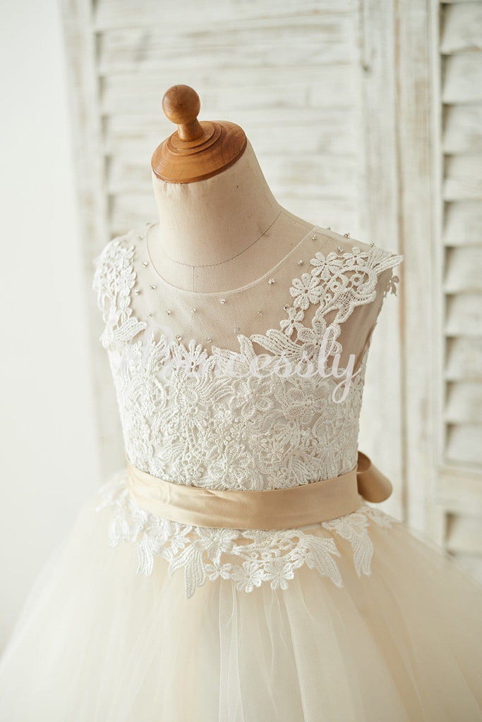 Ivory Lace Champagne Tulle Keyhole Back Wedding Party Flower