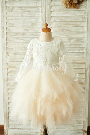 Ivory Lace Champagne Tulle Long Sleeves Wedding Flower Girl