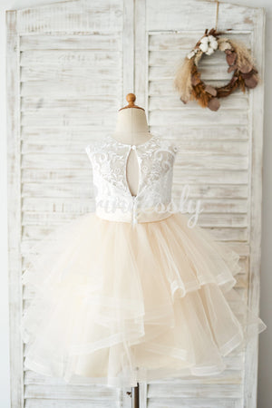 Ivory Lace Champagne Tulle Short Knee Length Wedding Flower