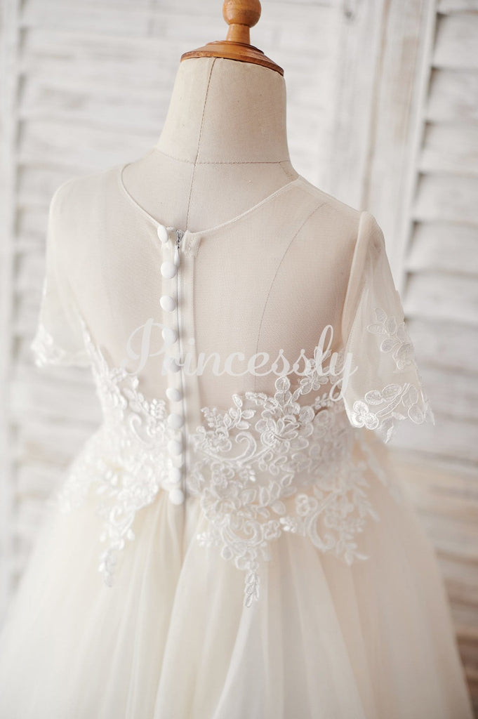 Ivory Lace Champagne Tulle Short Sleeves Wedding Flower Girl