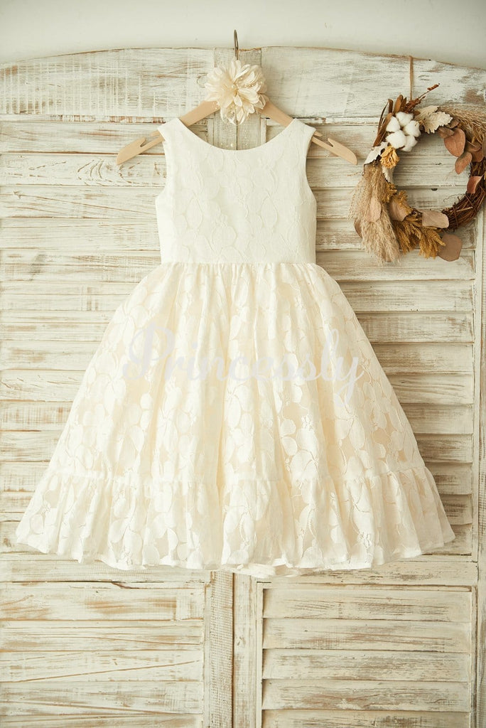 Ivory Lace Champagne Tulle Wedding Flower Girl Dress