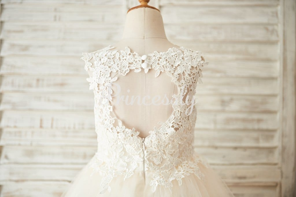 Ivory Lace Champagne Tulle Wedding Flower Girl Dress with