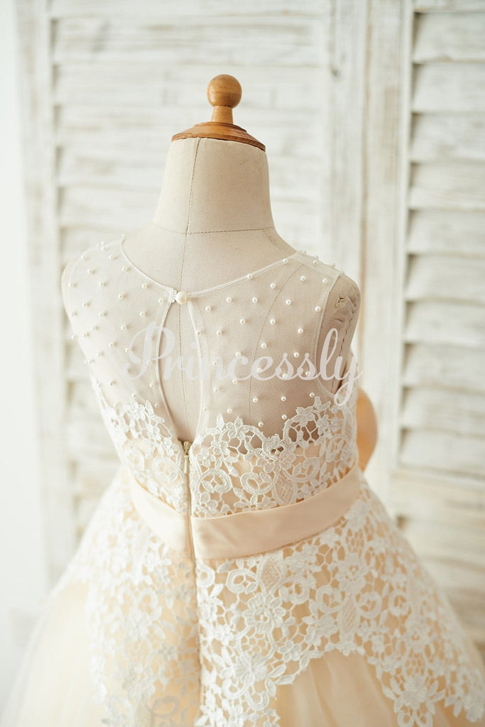 Ivory Lace Champagne Tulle Wedding Party Flower Girl Dress