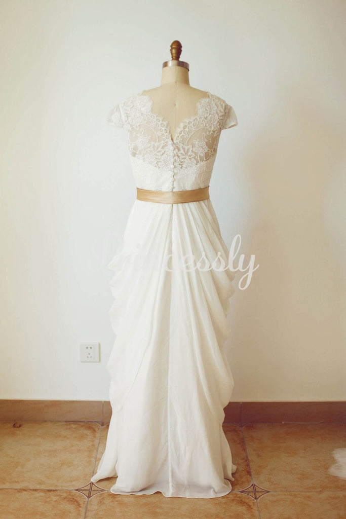 Ivory Lace Chiffon Cap Sleeves V Back Wedding Dress with