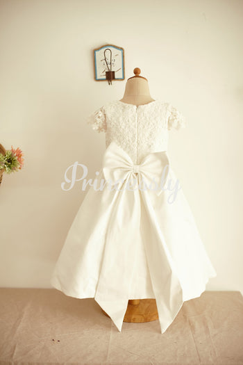 Ivory Lace Cotton Cap Sleeves Wedding Flower Girl Dress with