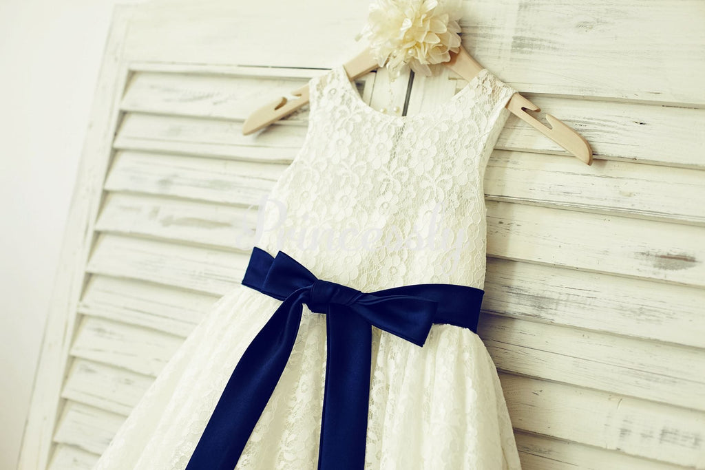 Ivory Lace Flower Girl Dress with Navy Blue Sash