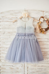 Ivory Lace Gray Tulle Sheer Back Wedding Flower Girl Dress