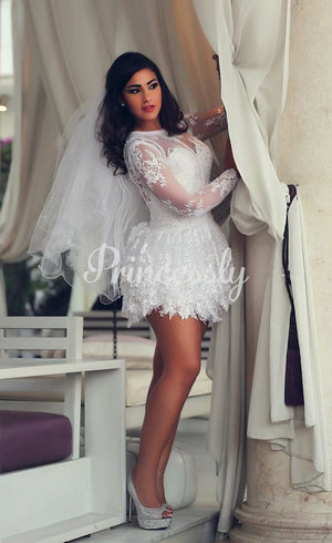 Ivory Lace Long Sleeves Keyhole Back Short Wedding Party