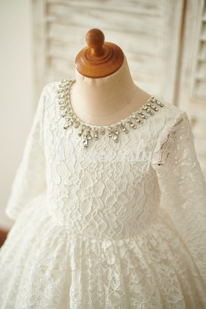 Ivory Lace Long Sleeves Wedding Flower Girl Dress with