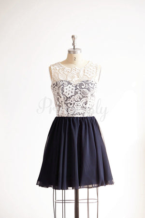 Ivory Lace Navy Blue Chiffon Short Knee Length Wedding