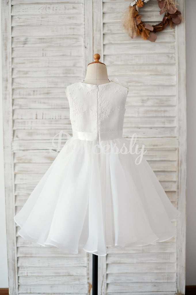 Ivory Lace Organza Wedding Flower Girl Dress