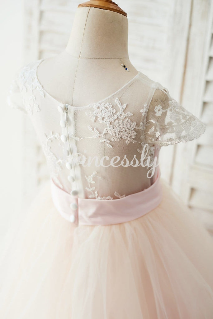 Ivory Lace Pink Tulle Cap Sleeves Wedding Flower Girl Dress