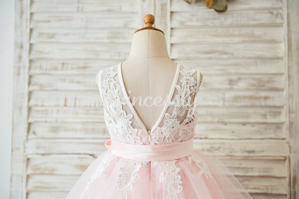 Ivory Lace Pink Tulle Wedding Flower Girl Dress with V Back