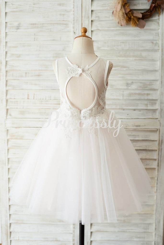 Ivory Lace Pink Tulle Wedding Flower Girl Dress with Keyhole
