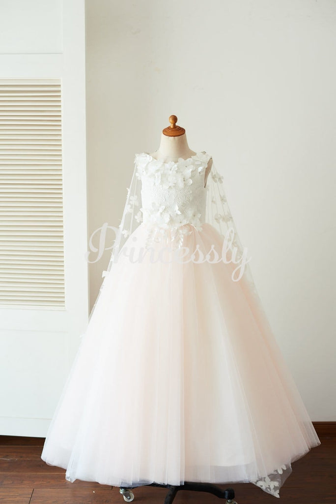 Ivory Lace Pink Tulle Wedding Party Flower Girl Dress with