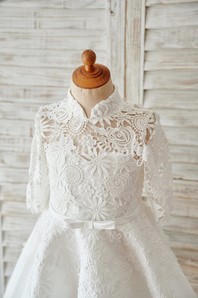 Ivory Lace Satin High Neck Long Sleeves Wedding Flower Girl