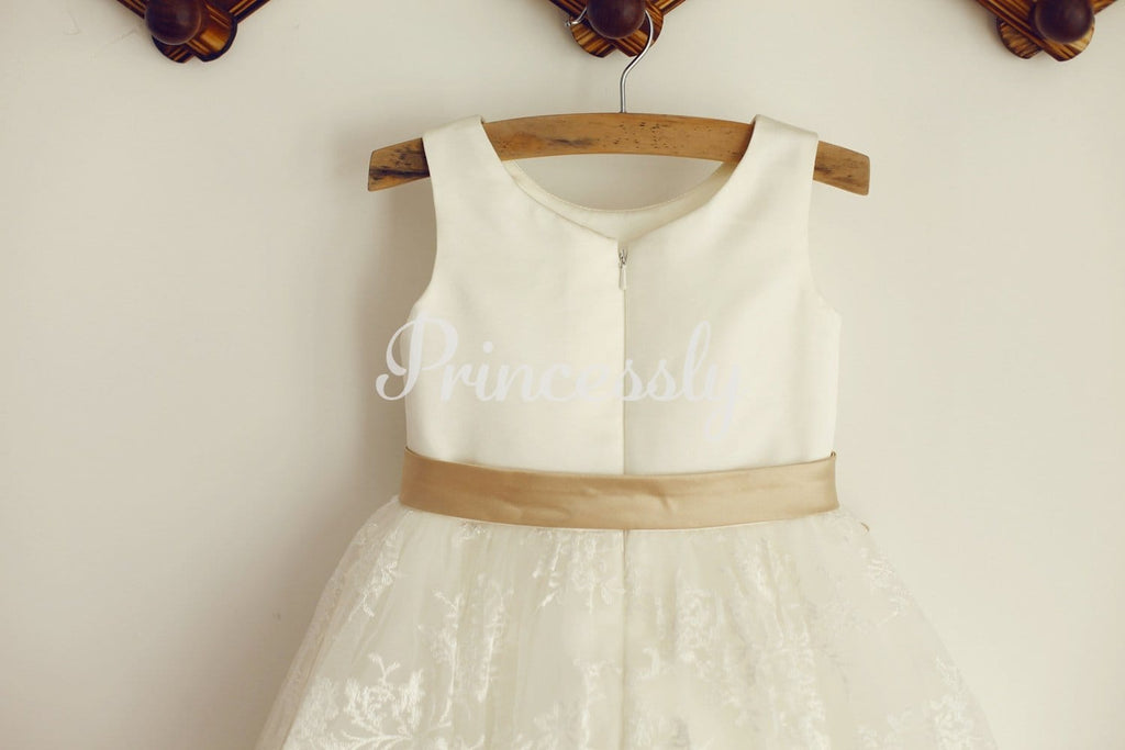Ivory Lace Satin Wedding Flower Girl Dress with Champagne